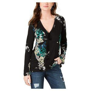 Style & Co. Womens Floral Print Tassel Top Black